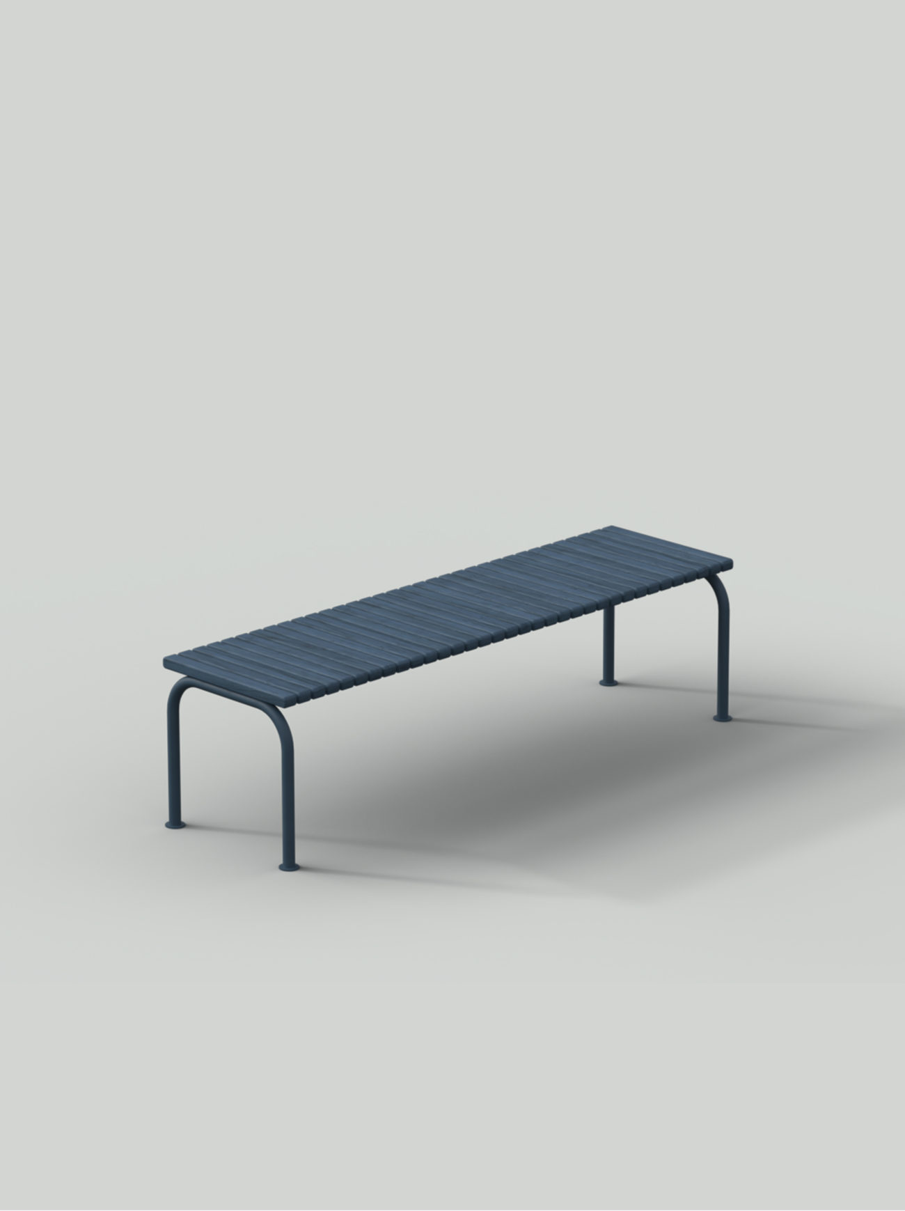 Blue bench with steel frame and wood planks