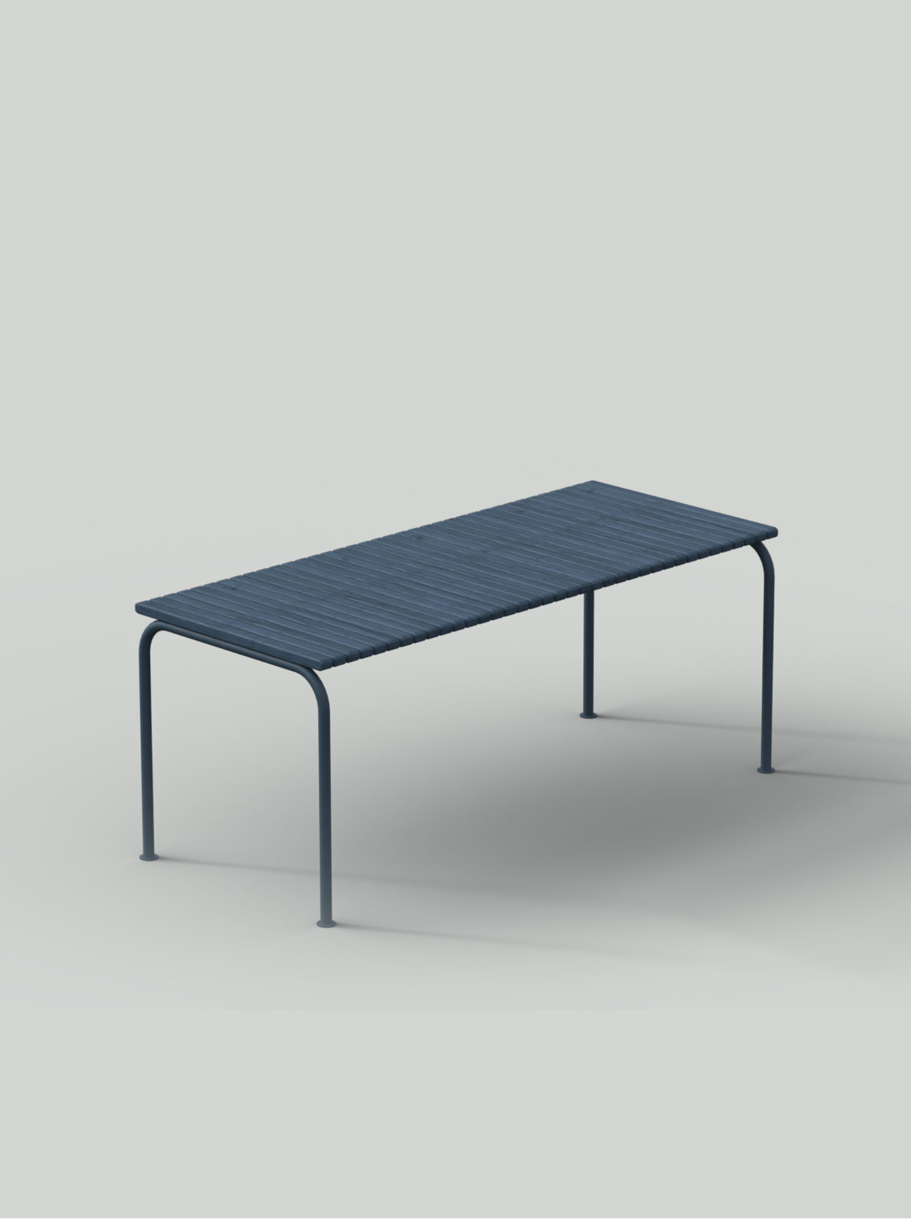 Blue table with steel frame and wood planks