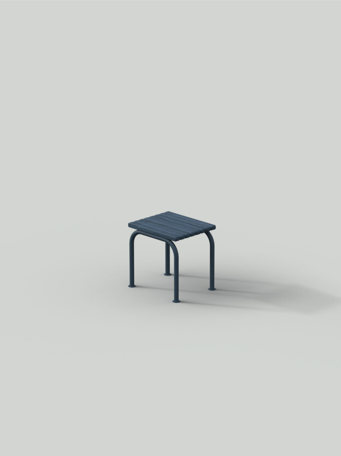 Blue stool with steel frame and wood planks