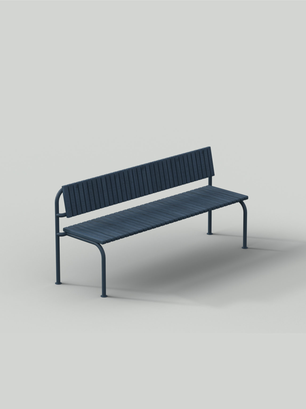 Blue sofa with steel frame and wood planks