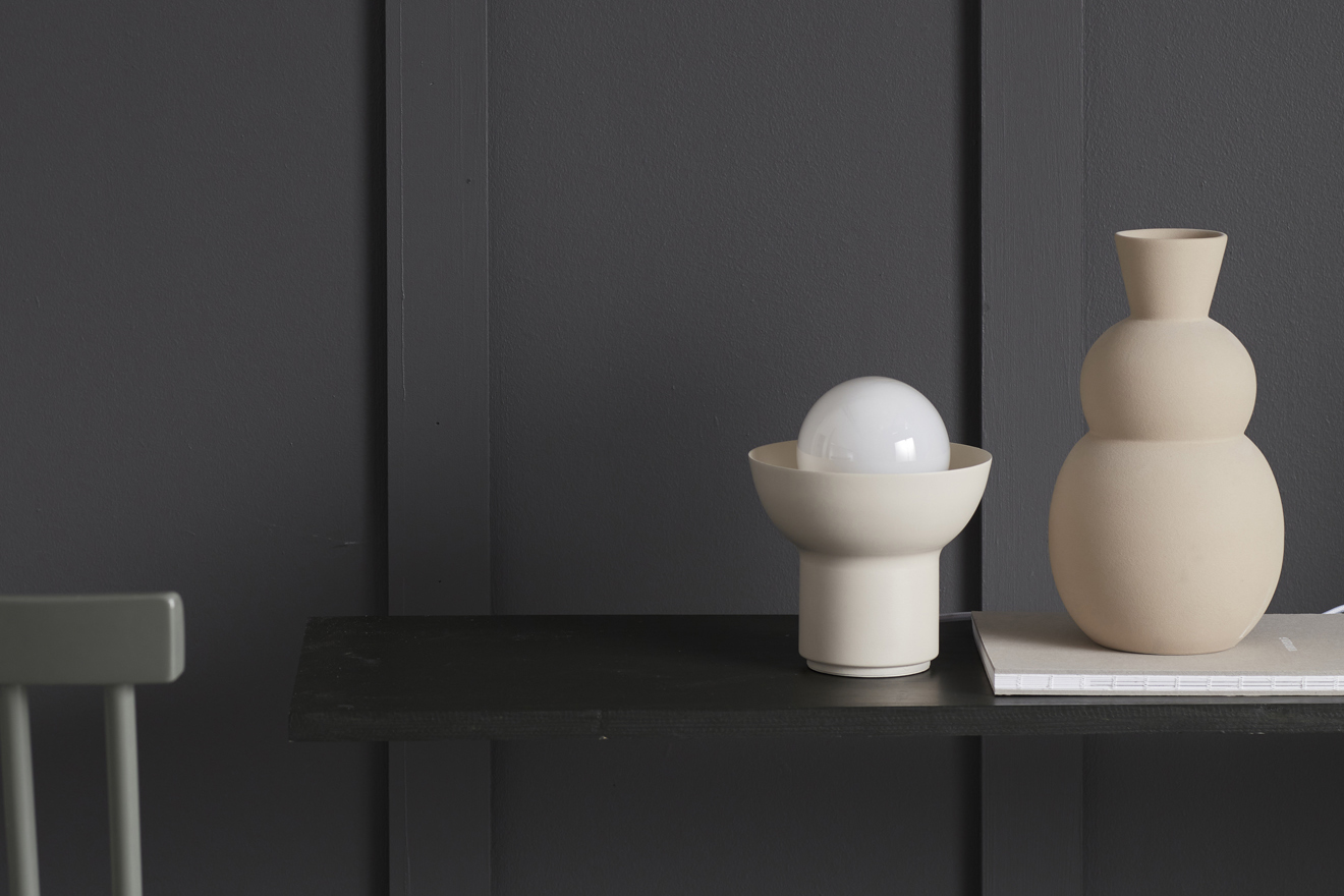White table lamp from Co Bankeryd designed by Odda